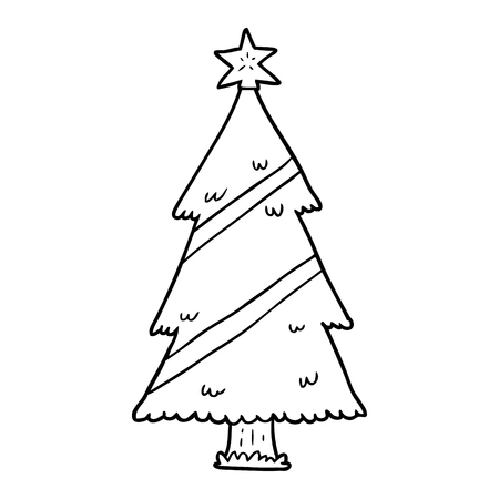 Line drawing of a Christmas tree vector