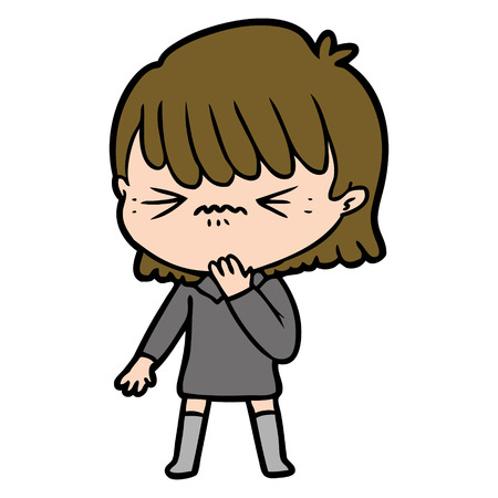 Cartoon girl regretting a mistake vector Illustration