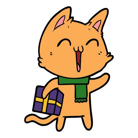 Chat de dessin animé heureux avec cadeau de Noël Banque d'images - 94921903