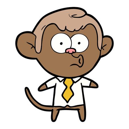 Cartoon office monkey vector Çizim