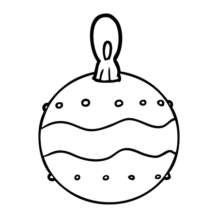 line drawing of a christmas bauble decoration Illustration