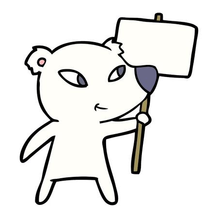 Hand drawn cute cartoon polar bear with protest sign