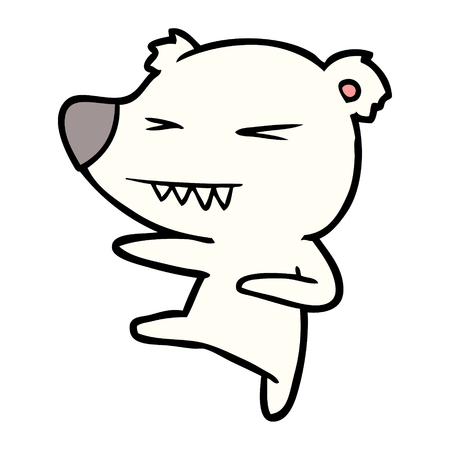 kicking polar bear cartoon Illustration