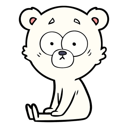 Nervous polar bear cartoon vector Illustration