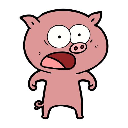 cartoon pig shouting Vector illustration.