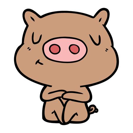 만화 내용 돼지 명상 벡터