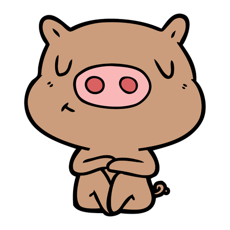 Cartoon content pig meditating vector
