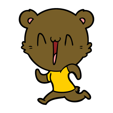 running bear cartoon Vector illustration.
