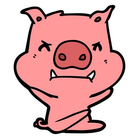 Angry cartoon pig throwing tantrum vector