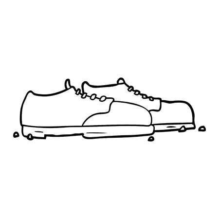 line drawing of a old shoes Иллюстрация
