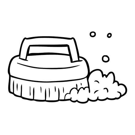 Line drawing of a scrubbing brush vector Illustration