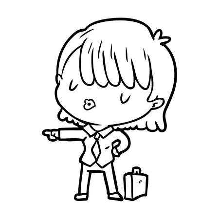 Line drawing of a efficient businesswoman giving orders vector Illustration