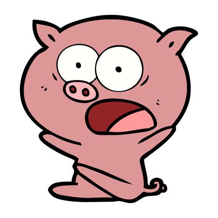 Shocked cartoon pig sitting down vector