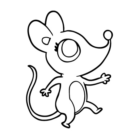 Cute line drawing of a mouse