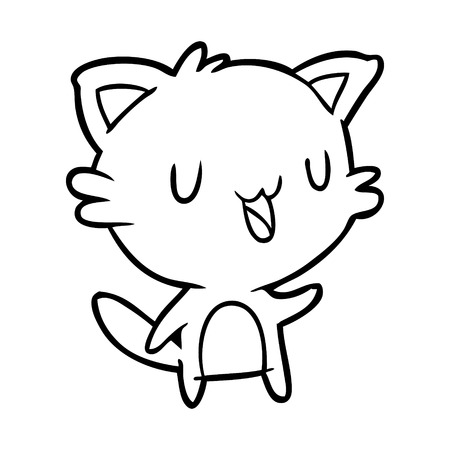 Line drawing of a happy cat vector Illustration
