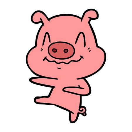 Nervous cartoon pig dancing vector