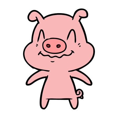 Nervous cartoon pig vector