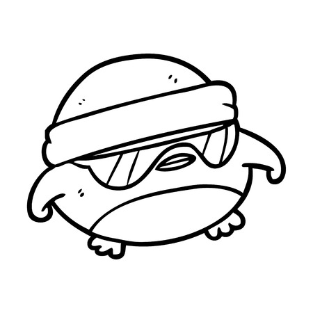 Cool Christmas robin line drawing with sunglasses Illustration