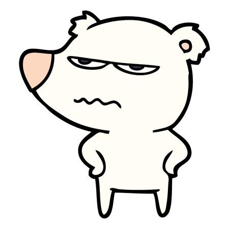 Hand drawn angry bear polar cartoon