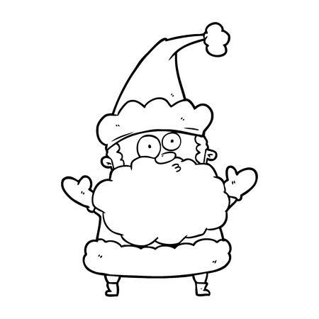 line drawing of a confused santa claus shurgging shoulders