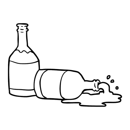 Hand drawn of a beer bottles with spilled beer