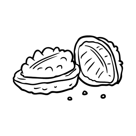 lijntekening van walnoten Stock Illustratie