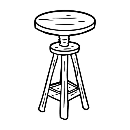 line drawing of a adjustable artist stool Иллюстрация