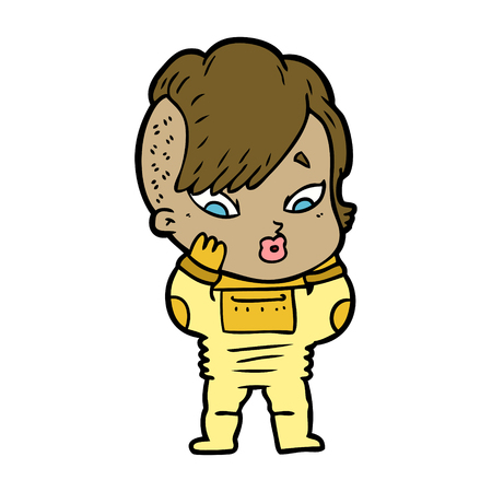 Hand drawn cartoon surprised girl in science fiction clothes