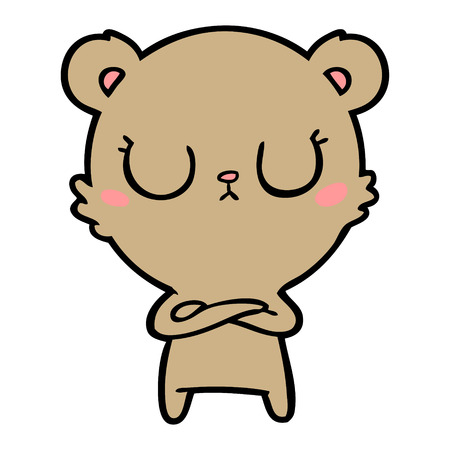 Peaceful cartoon bear cub vector