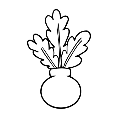 Line drawing of a houseplant in vase vector