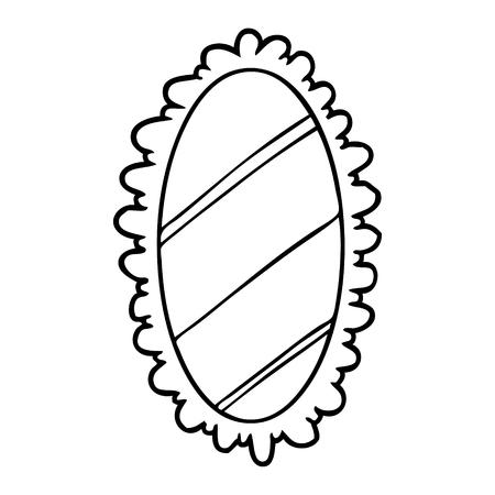 Strichzeichnung eines stilisierten alten Spiegels Standard-Bild - 94922263