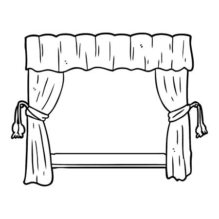 舞台に開くカーテンの線画