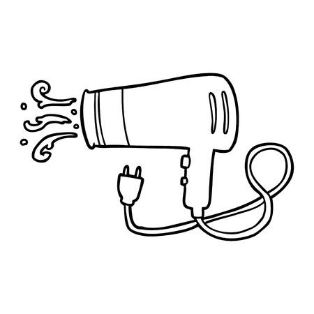 Dessin au trait d'un sèche-cheveux électrique Banque d'images - 94924121