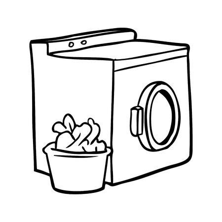 Hand drawn  of a washing machine and laundry