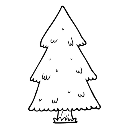 Hand drawn  of a Christmas tree