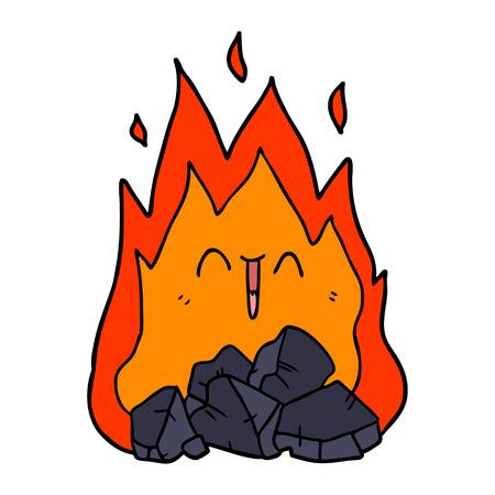 Hand drawn cartoon blazing coal fire