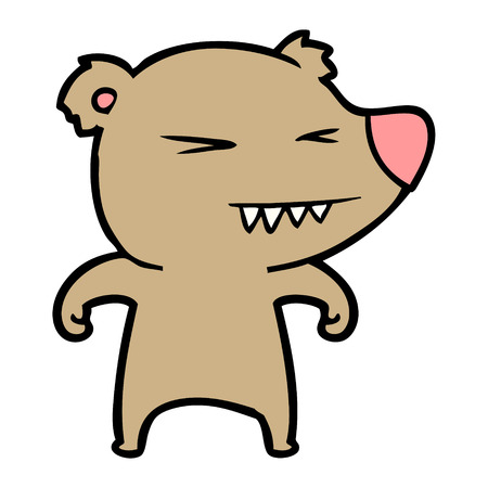 angry bear cartoon Vector illustration.