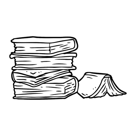Hand drawn  of a pile of books