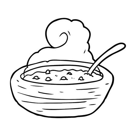 スープの熱いボウルの手描き