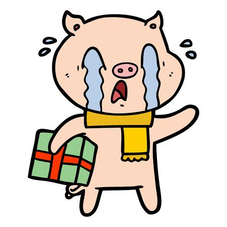 クリスマスプレゼントを届ける手描きの泣く豚漫画