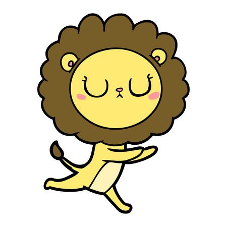 手描き漫画ランニングライオン  イラスト・ベクター素材
