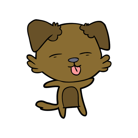 Hand drawn cartoon dog sticking out tongue Stockfoto - 95001618