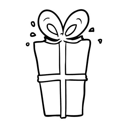 Hand drawn of a wrapped gift