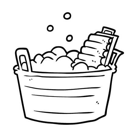 line drawing of a old laundry washboard and bucket