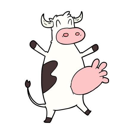 Hand getrokken cartoon koe slingerende uier