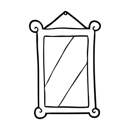 line drawing of a framed old mirror