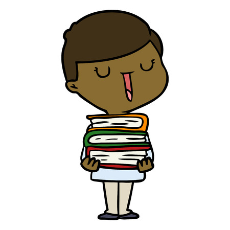 cartoon happy boy with stack of books