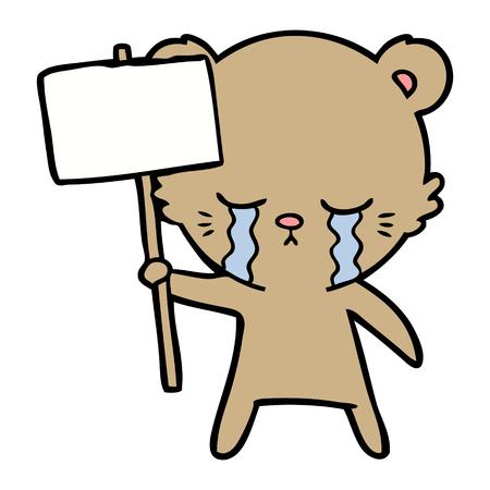 crying cartoon bear with sign post Иллюстрация