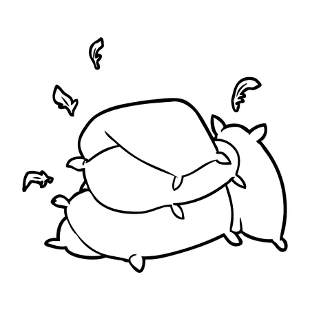 Hand drawn line drawing of a pile of pillows