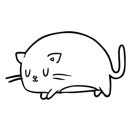 cute fat line drawing of a cat Illustration